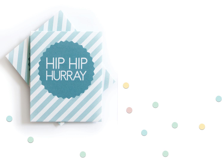 """Konfettitütchen """"Hip Hip Hurray"""" pdf zum Selberdrucken für Hochzeiten, Taufen und andere Feiern"""