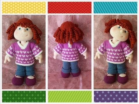 Matilda Dolly - Pattern for wig, jeans, shirt and shoes at Makerist
