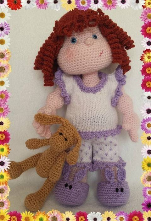 Matilda Dolly - Pattern for wig, pyjamas and bunny at Makerist
