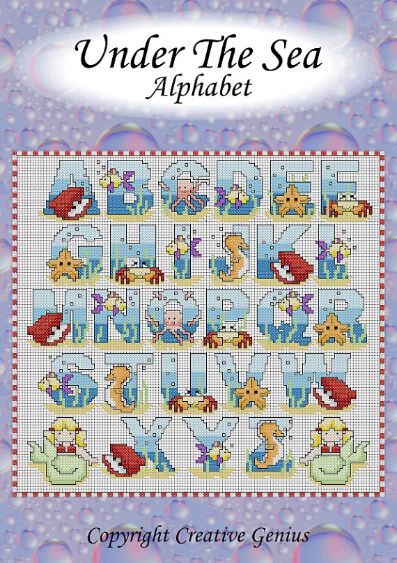 Under The Sea cross stitch alphabet