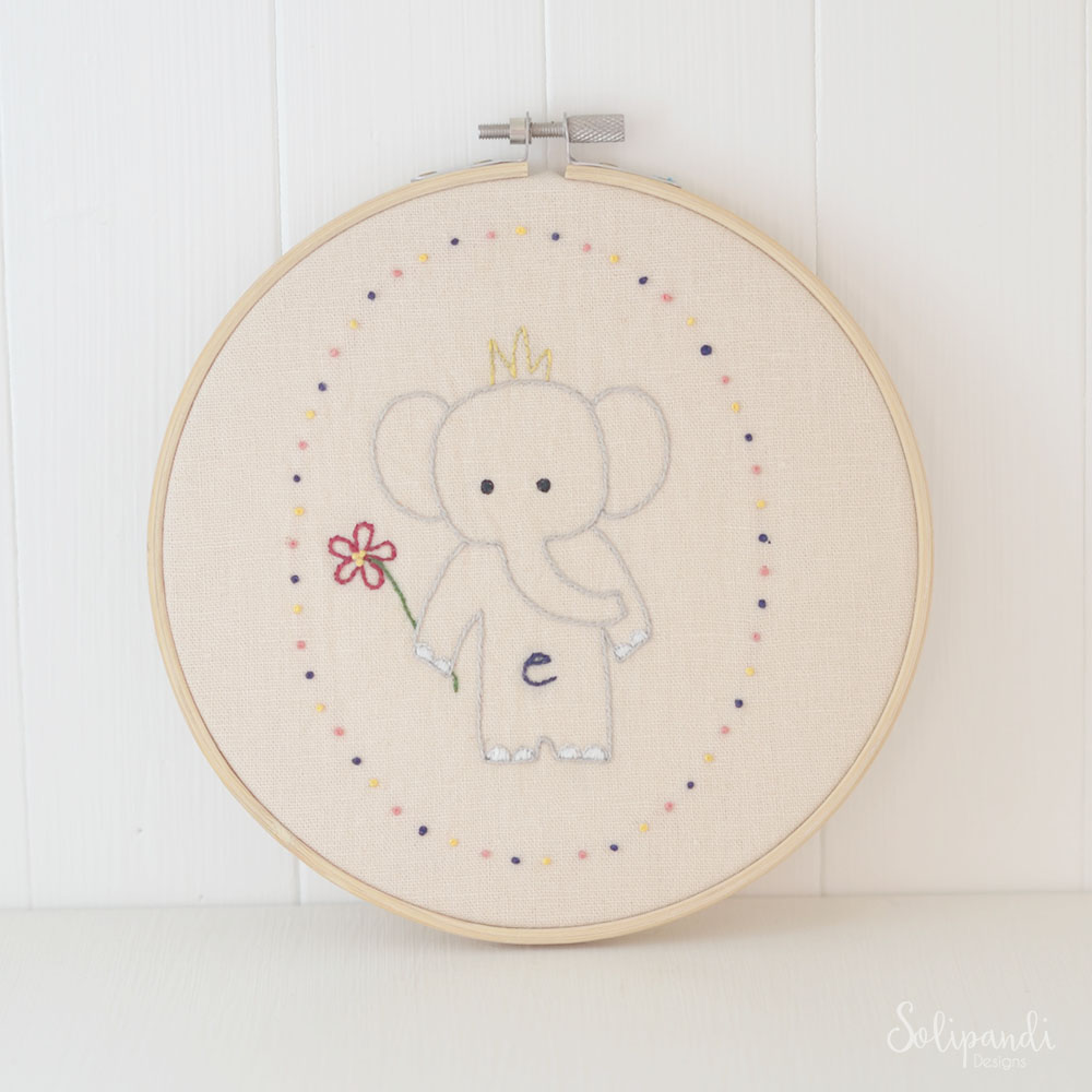 Little Elephant, hand embroidery PDF pattern & instructions
