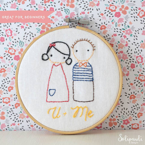 U + Me sweet couple, hand embroidery PDF pattern & instructions