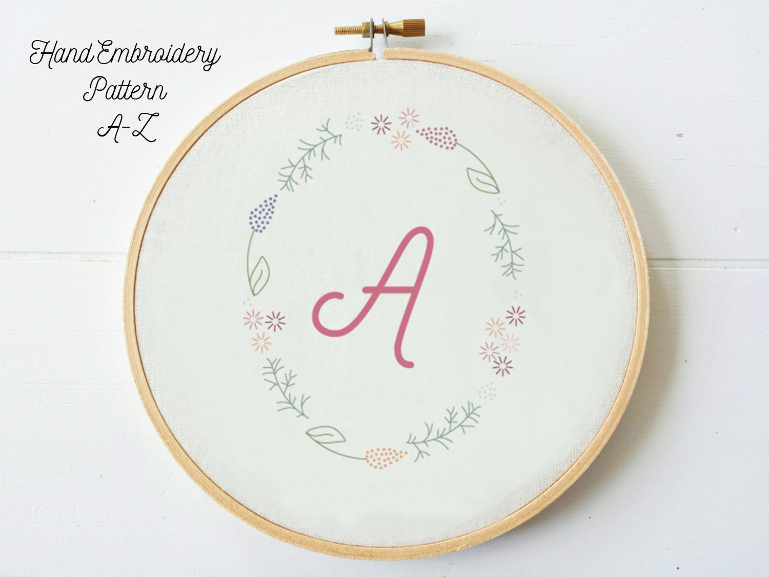 Bundle A-Z Letters in Floral Frame, hand embroidery PDF pattern & instructions