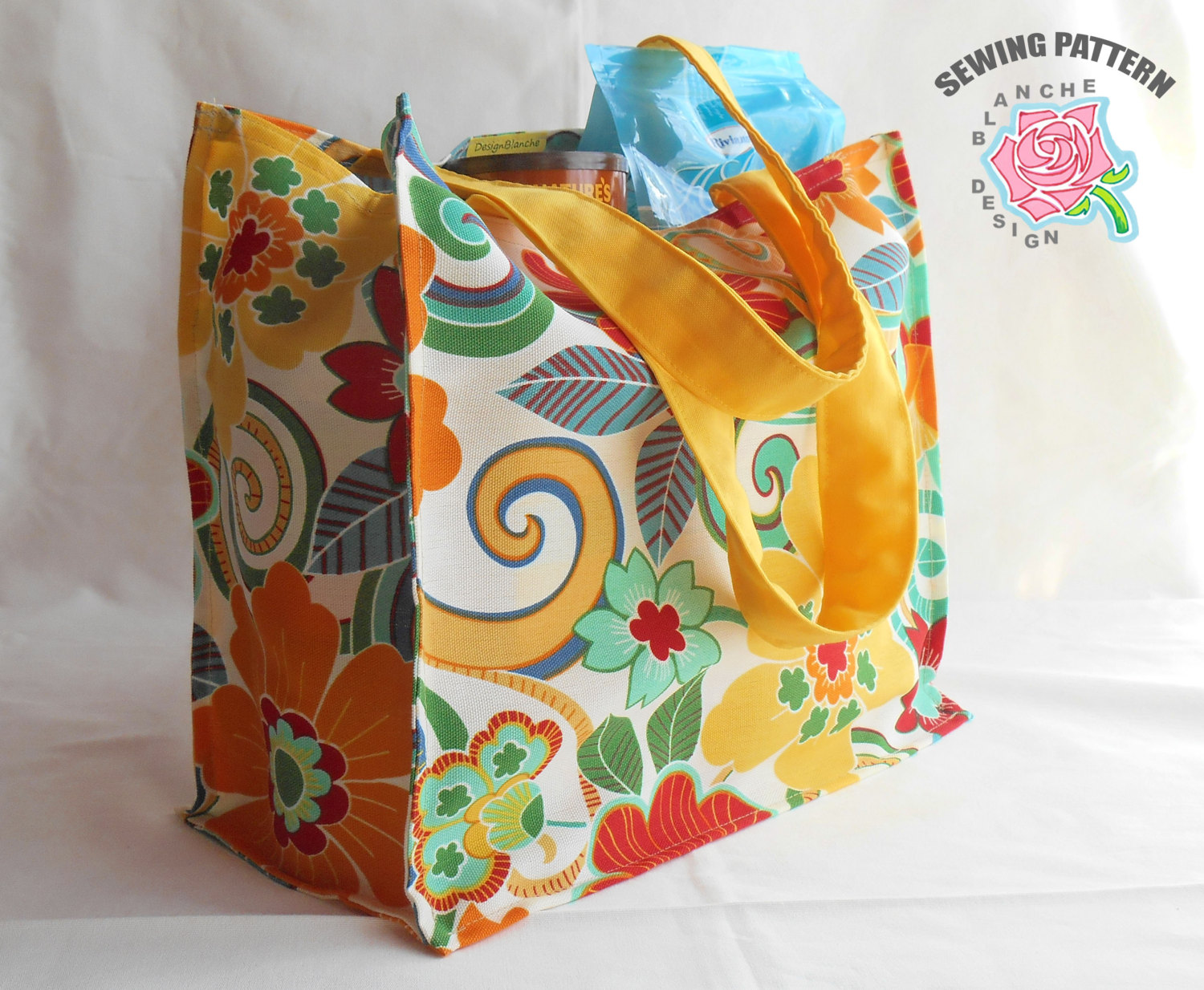 Reusable Grocery Shopping Bag Pattern with or without a lining