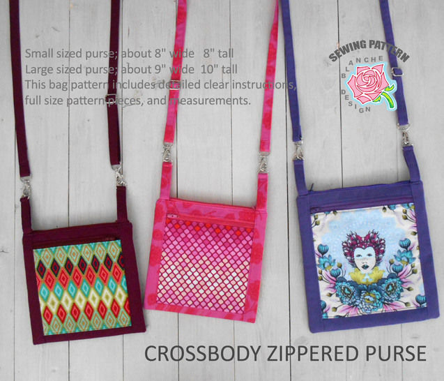 Crossbody Zippered Purse Pattern with a smart phone pocket at Makerist - Image 1