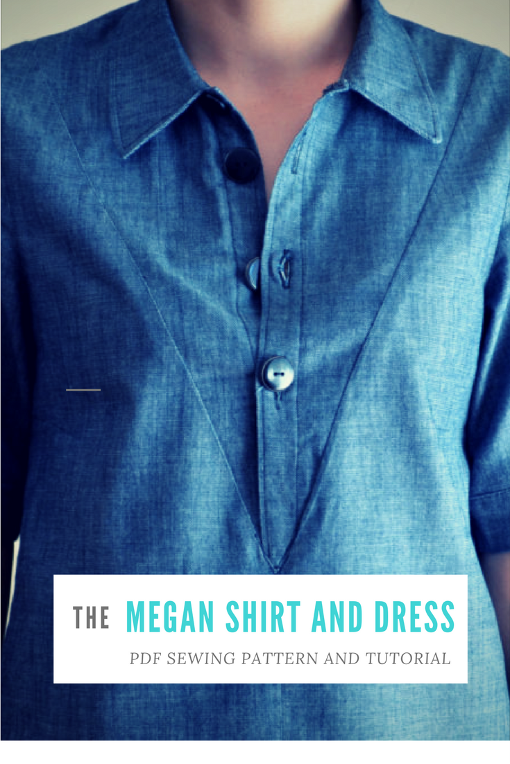 Megan Shirt:  PDF sewing pattern for women, sizes available from 4 to 22