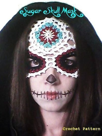 Sugar Skull -Día de Muertos/ Day of the Dead- Lace Masquerade Mask (costume or photo prop)- crochet pattern at Makerist - Image 1