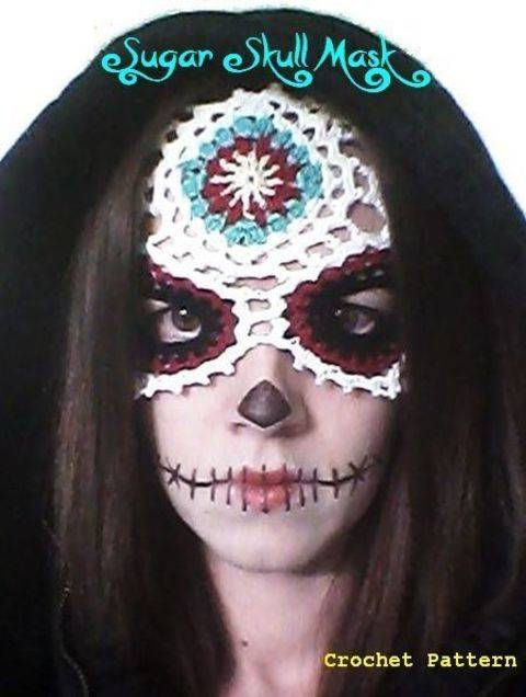 Sugar Skull -Día de Muertos/ Day of the Dead- Lace Masquerade Mask (costume or photo prop)- crochet pattern at Makerist