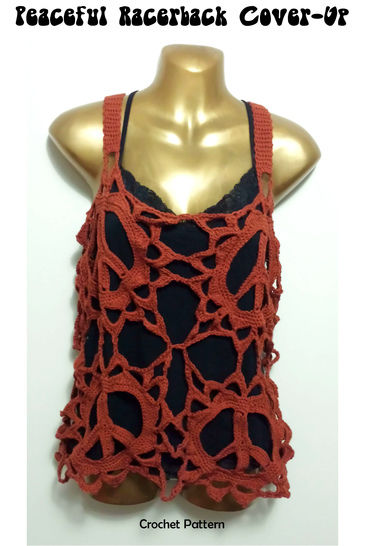 Peace Sign Racer back Boho Cover Up Top - crochet pattern at Makerist - Image 1