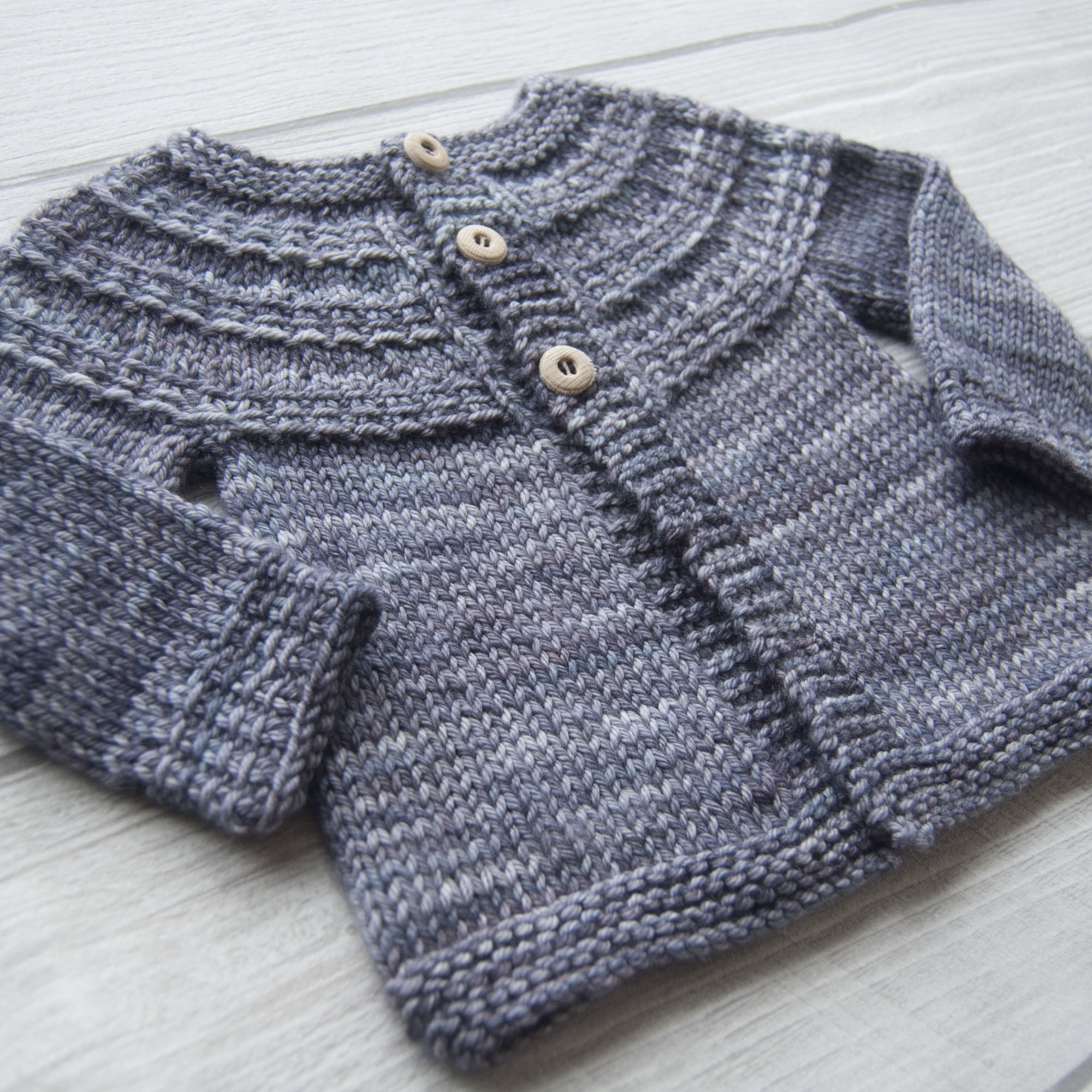 Hyphen unisex baby and child cardigan - knitting pattern