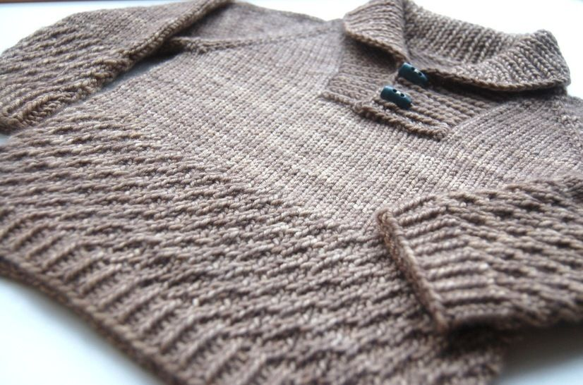Boy sweater with shawl collar - knitting pattern at Makerist - Image 1