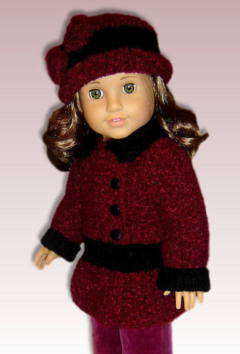 "Faux Velvet Coat - 18"" Doll"