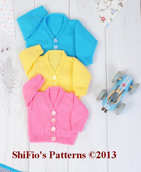 KP251 V Neck Cardigans Baby Knitting Pattern #251