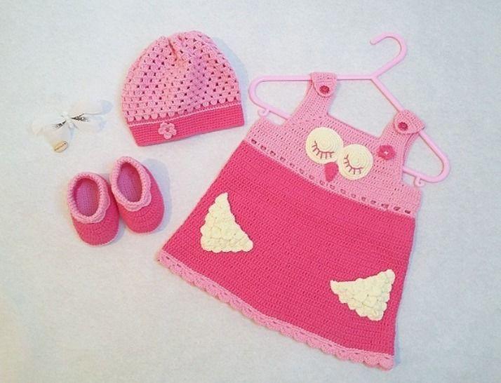 Häkelanleitung Babyset Eule Ella 3tlg. Gr.62/68 & 74/80 bei Makerist - Bild 1