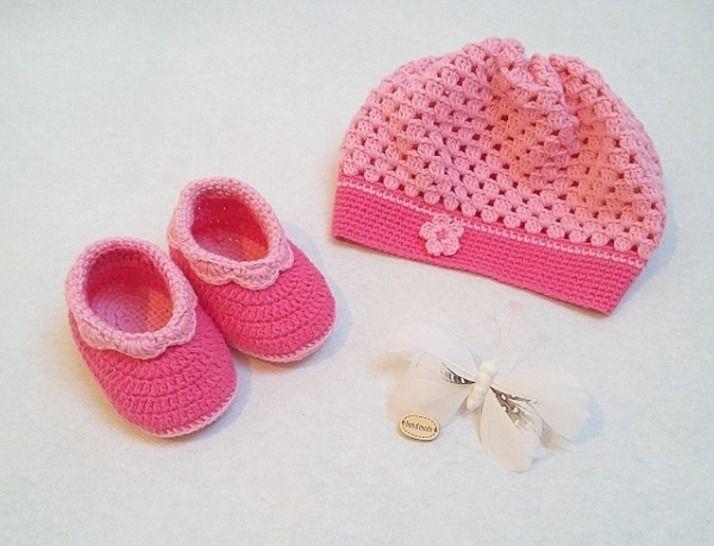 Häkelanleitung Babyset Ella 2tlg Mütze und Schuhe bei Makerist - Bild 1