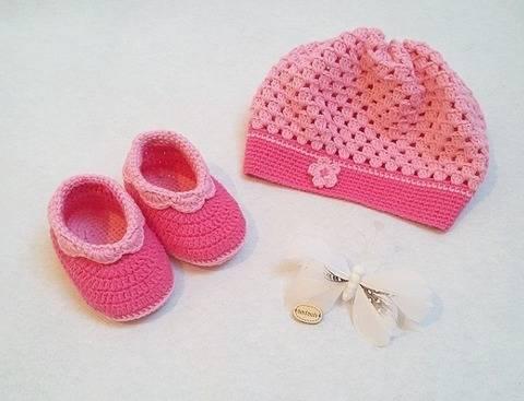 Häkelanleitung Babyset Ella 2tlg Mütze und Schuhe bei Makerist