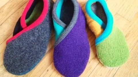 Upcycled Sweater Slippers - CROSSOVER - PDF Sewing Pattern at Makerist