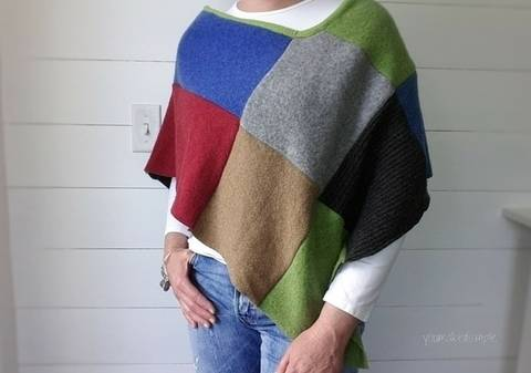 Women Patchwork Poncho - PDF Sewing Pattern at Makerist