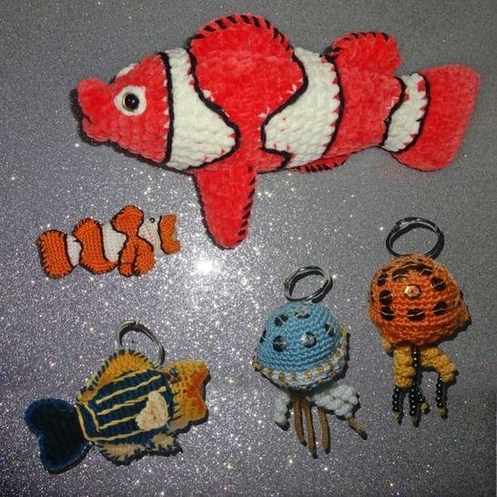 Anhänger Chip-Tasche, Qualle, Doktorfisch, Clown Fisch, bei Makerist - Bild 1