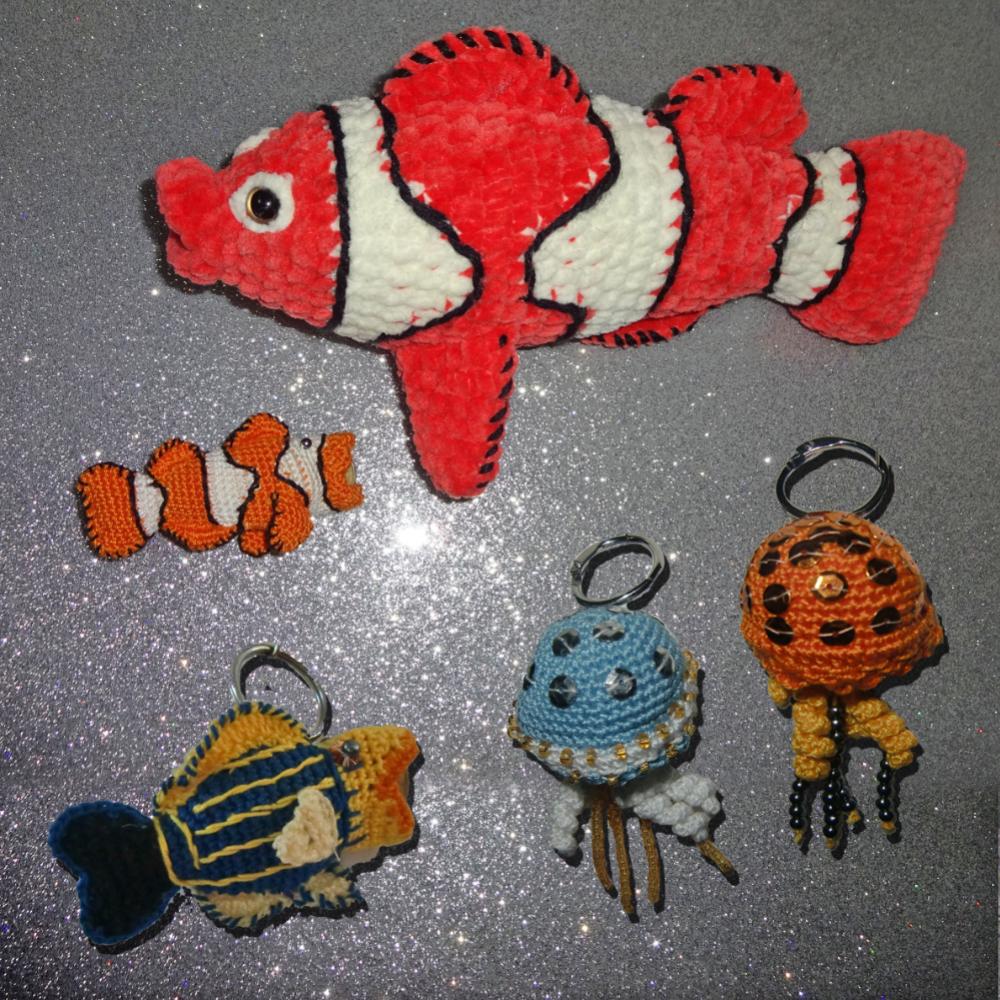 Anhänger Chip-Tasche, Qualle, Doktorfisch, Clown Fisch,