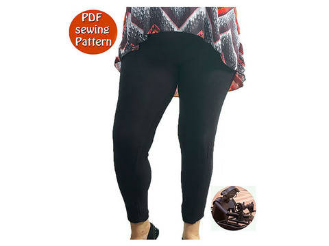 Women's stretch leggings - High waisted -  Size 34 36 38 40 42 44 -  French/english PDF sewing pattern  at Makerist