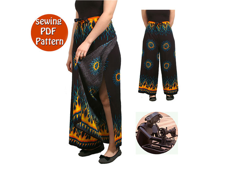 Thai Women beach pants -  Fit all sizes - French/english PDF sewing pattern at Makerist - Image 1