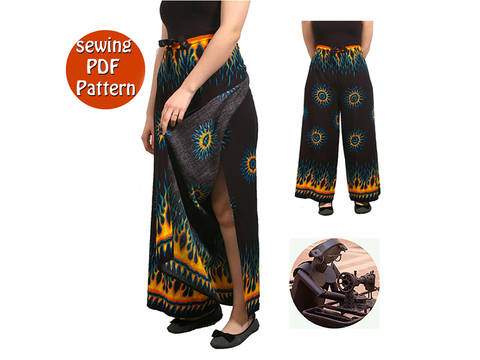 Thai Women beach pants -  Fit all sizes - French/english PDF sewing pattern at Makerist