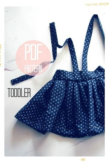 High Waist Suspender Skirt + Sash Sewing Pattern - Baby + Toddler (18 months, 2T + 3T) at Makerist - Image 1