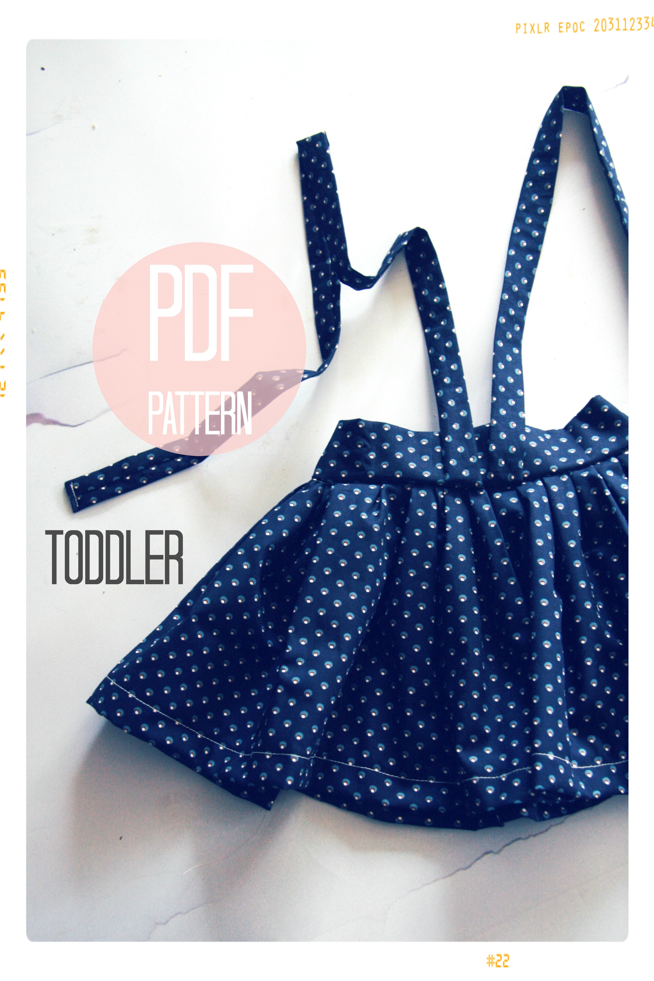 High Waist Suspender Skirt + Sash Sewing Pattern - Baby + Toddler (18 months, 2T + 3T)