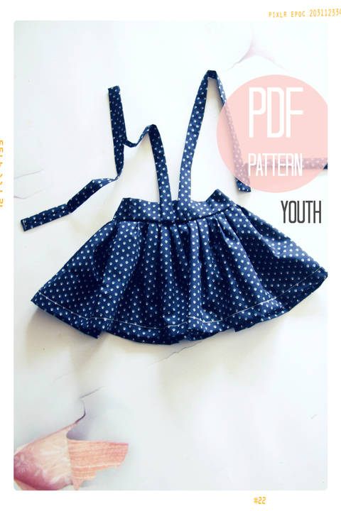 High Waist Suspender Skirt + Sash Sewing Pattern - Youth (7 + 8)