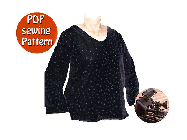 Womens sweater - Small and plus sizes XS S M L XL XXL - French/english PDF sewing pattern at Makerist - Image 1