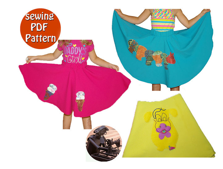 Vintage circle skirt for little girl- The age of 0 to12 years - Appliques design included - Multisize PDF sewing pattern -  french/english  at Makerist - Image 1