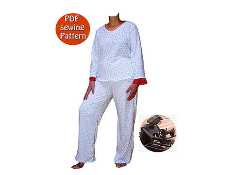 Women's pajamas or jogging suit - Sizes XS S M L XL XXL - French/english PDF sewing pattern  at Makerist