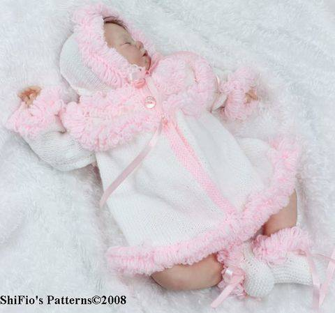 KP31 Loopy Jacket, Booties & Hat Baby Knitting Pattern #31