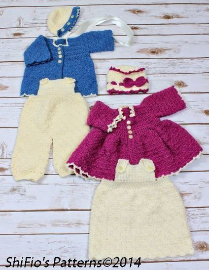 CP35 Winter Matinee Jacket, Dress, Dungarees, Hats Crochet Pattern #35 at Makerist - Image 1