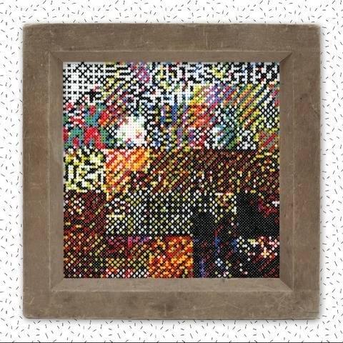 Moderne Kreuzstichvorlage . GLITCH IV . Stickmuster Pixel