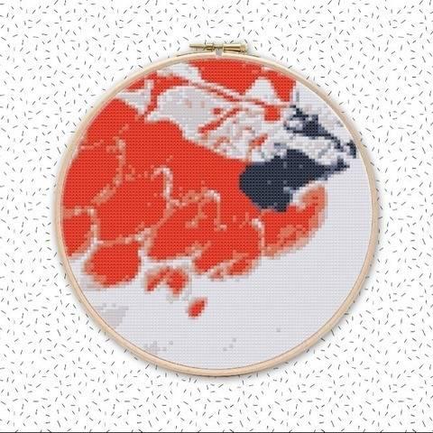 KOI KARPFEN Kreuzstich Stickmuster Sticken mit Kreuzstich bei Makerist