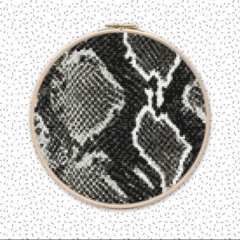 Animal Print SCHLANGE Kreuzstich Stickmotiv