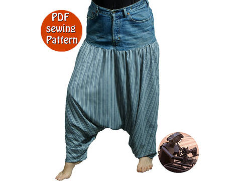 Baggy pants low crotch made with recycled jeans - Saroual for adult & children - Patron de couture PDF français/anglais  at Makerist