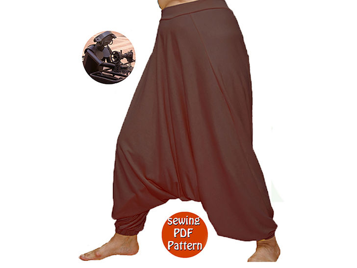 Universal harem trousers yoga pants - Unisex saroual -  Fits for all - French/english PDF sewing pattern  at Makerist - Image 1