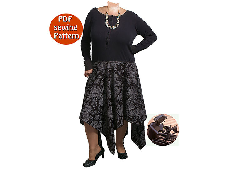 Women's dress with peaks - Transformation of an old sweaster - Multisizes - French/english PDF sewing pattern   at Makerist - Image 1