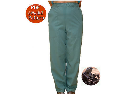Women's pants -  Great for uniform  - High waisted - Size 36 to 58 - French/english PDF sewing pattern  at Makerist