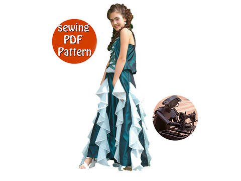 Young women skirt & bodice - T 38 40 42 44 - French/english PDF sewing pattern at Makerist