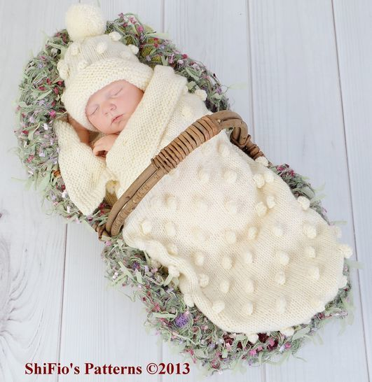 KP128 Bobble Cocoon, Papoose & Hat Baby Knitting Pattern #128  at Makerist - Image 1