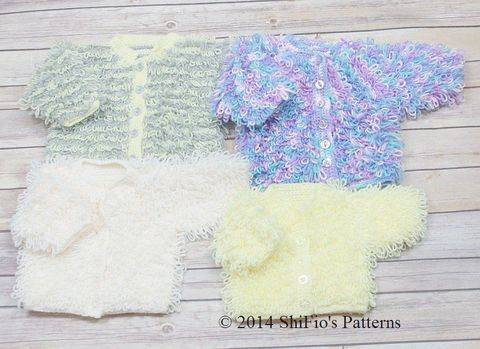 CP220 Loopy Cardigans Baby Crochet Pattern #220 at Makerist