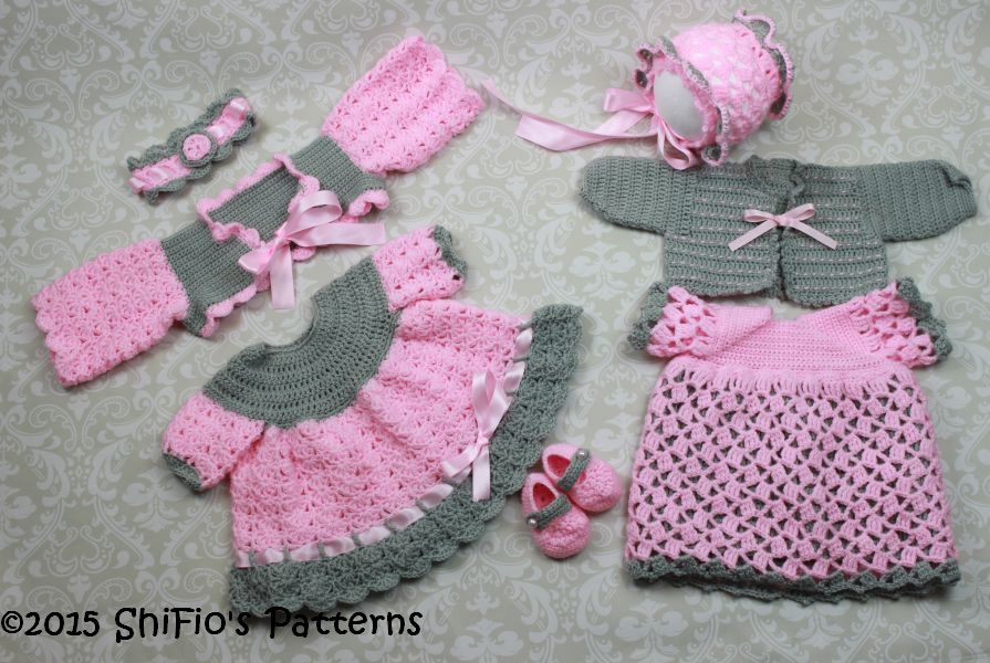 CP25 2 dresses , 2 shrugs, headband, hat and shoes Baby Crochet Pattern #25