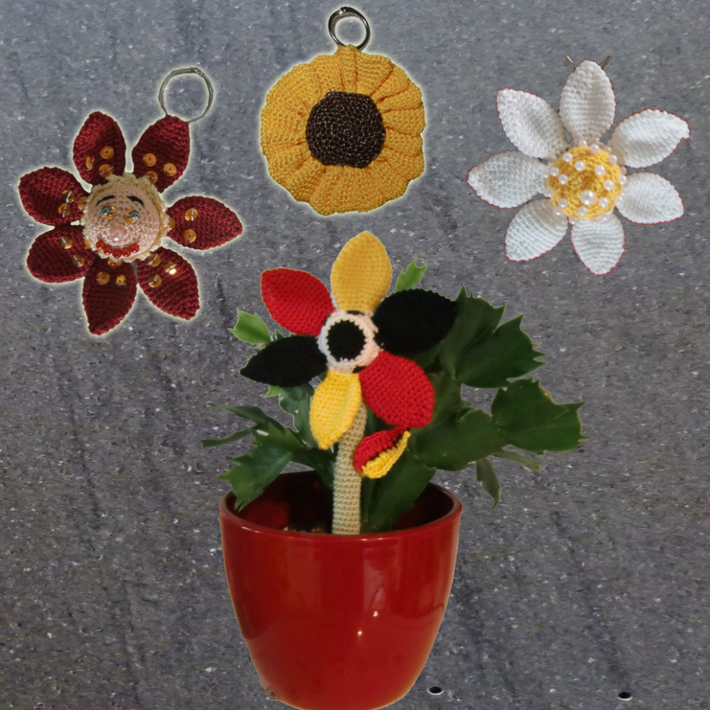 3x Schlüsselanhänger Blume, mit Chiptasche,  von Dadade