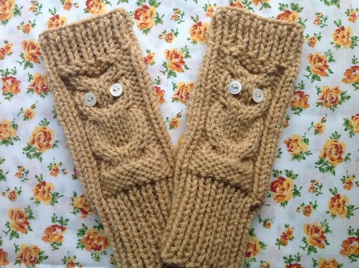 Owl fingerless gloves - knitting pattern at Makerist - Image 1