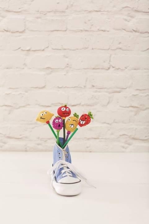 Amigurumi Früchteaufstecker für Stifte