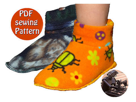 Children slippers -  Sizes 23 to 31 (US 6½ to 13) French/english PDF sewing pattern  at Makerist